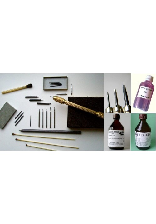 Полный комплект для реставрации металлов, 31 предмет + жидкости для работы с медью